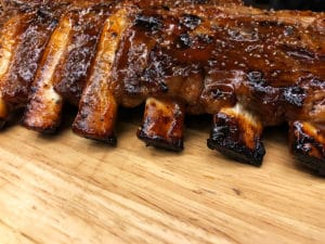 Pork Spare Ribs Barbecue on wooden plate, in great restaurants in independence
